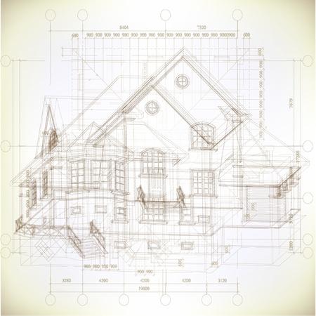 bocetos de personas: Fondo arquitect�nico con un modelo de construcci�n 3D