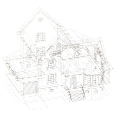 piano di progetto: Sfondo architettonico con un modello di edificio 3D Vettoriali