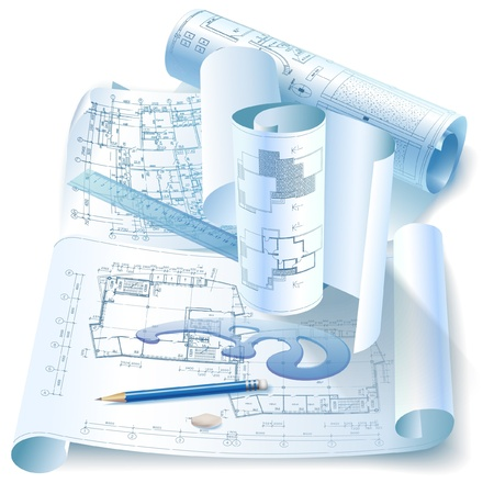 Architectural background with office tools and rolls of drawings Vector
