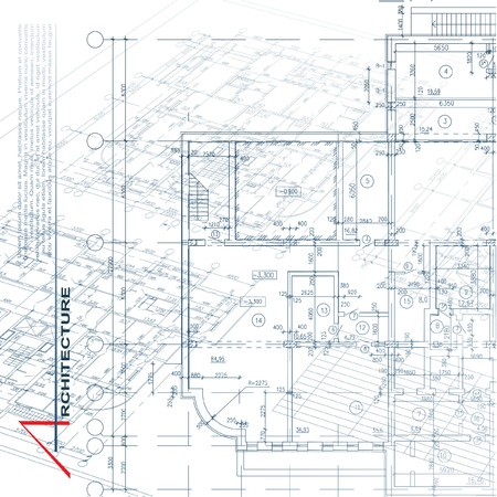 Architectural background  Part of architectural project, architectural plan, technical project, drawing technical letters, architecture planning on paper, construction plan Illustration