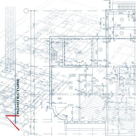 blueprints: Architectural background  Part of architectural project, architectural plan, technical project, drawing technical letters, architecture planning on paper, construction plan Illustration