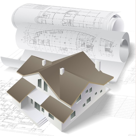 house diagram: Architectural background with a 3D building model and rolls of technical drawings   Illustration