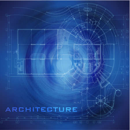 Abstract futuristic architectural design  Urban Blueprint   Architectural background  Part of architectural project, architectural plan, technical project, construction plan Vector