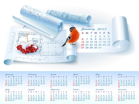 Calendar for January 2013 year with colorful architectural design elements Stock Vector - 16651089