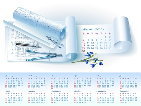Calendar for March 2013 year with colorful architectural design elements Stock Vector - 16651085