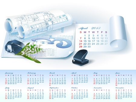 Calendar for April 2013 year with colorful architectural design elements Vector