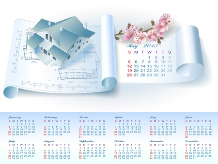 Calendar for May 2013 year with colorful architectural design elements Stock Vector - 16651073