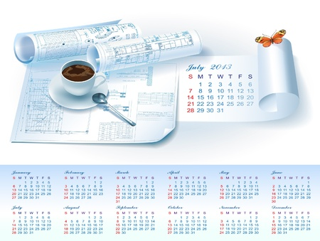 Calendar for July 2013 year with colorful architectural design elements Stock Vector - 16651075