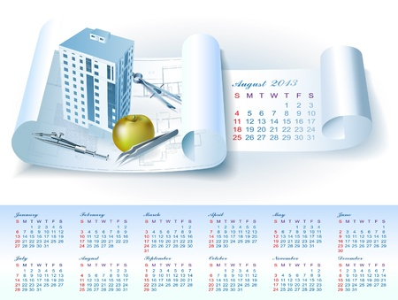 Calendar for August 2013 year with colorful architectural design elements Vector