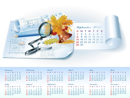 Calendar for September 2013 year with colorful architectural design elements Stock Vector - 16651105