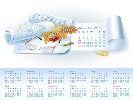 Calendar for November 2013 year with colorful architectural design elements Stock Vector - 16651066