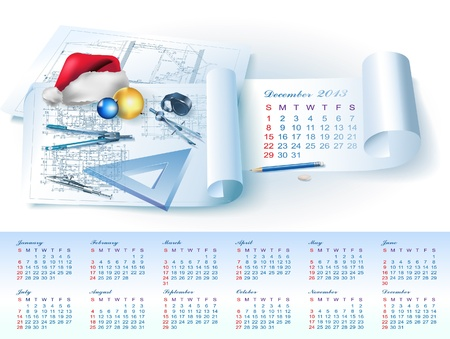 Calendar for December 2013 year with colorful architectural design elements Vector
