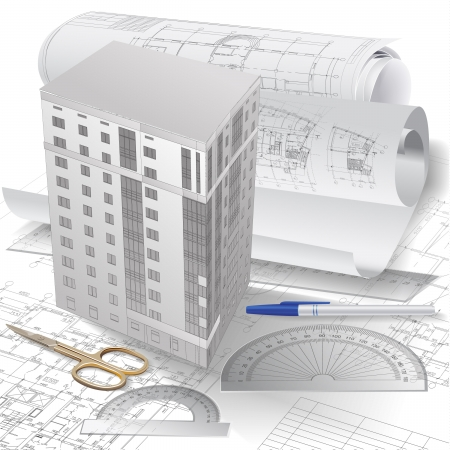 edificio: Fondo arquitect�nico con 3-d modelo de construcci�n, herramientas de dibujo y rollos de dibujos Vectores