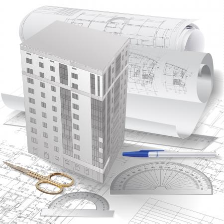 piano di progetto: Sfondo architettonico con il modello 3-d edilizia, strumenti di disegno e rotoli di disegni