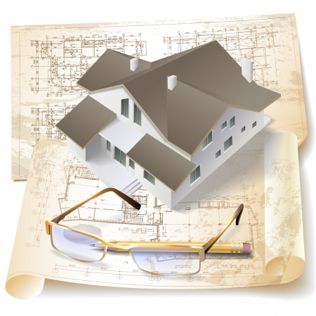 floor plans: Grunge architectural background with a 3D building model