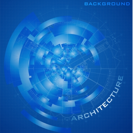 Abstract futuristic architectural design - Urban Blueprint  Architectural background, part of architectural project, architectural plan, technical project, construction plan Stock Vector - 19145040