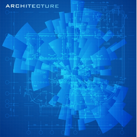 Abstract futuristic architectural design - Urban Blueprint  Architectural background, part of architectural project, architectural plan, technical project, construction plan Vector