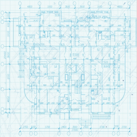 Architectural background - Part of architectural project, architectural plan, technical project, drawing technical letters, architecture planning on paper, construction plan Vector