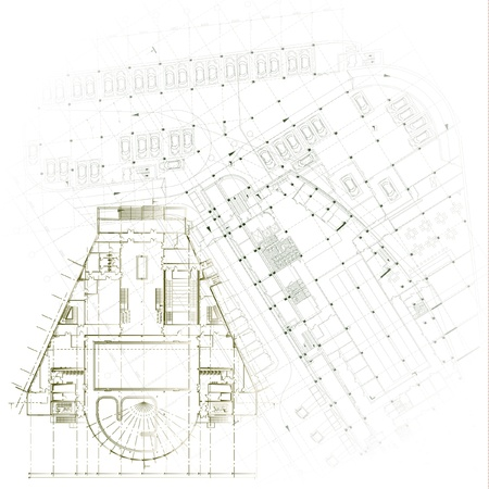 Architectural background - Part of architectural project, architectural plan, technical project, drawing technical letters, architecture planning on paper, construction plan