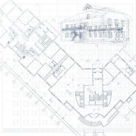 plan maison: Arri�re-plan architectural - Partie du projet architectural, le plan architectural, le projet technique, dessin technique lettres, planification de l'architecture sur le papier, le plan de construction