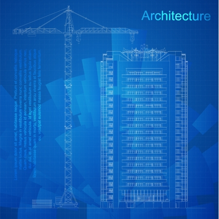 in the reconstruction: Urban Blueprint  vector -  Architectural background