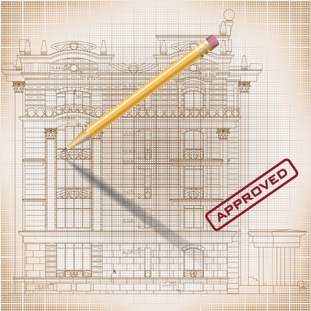 Architectural background - Part of architectural project, architectural plan, technical project, drawing technical letters, architecture planning on paper, construction plan Stock Vector - 19145022