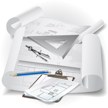 building plans: Architectural background with drawing tools and rolls of drawings Illustration