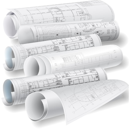 blue print: Architectural background with rolls of drawings Illustration
