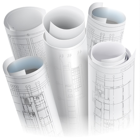 engineering design: Architectural background with rolls of drawings Illustration