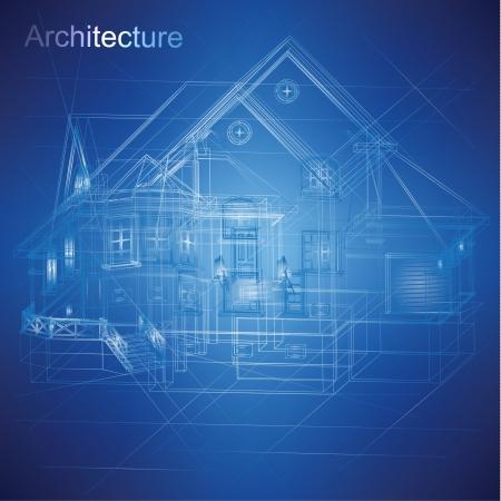建設: 都市の青写真ベクトル - 建築の背景