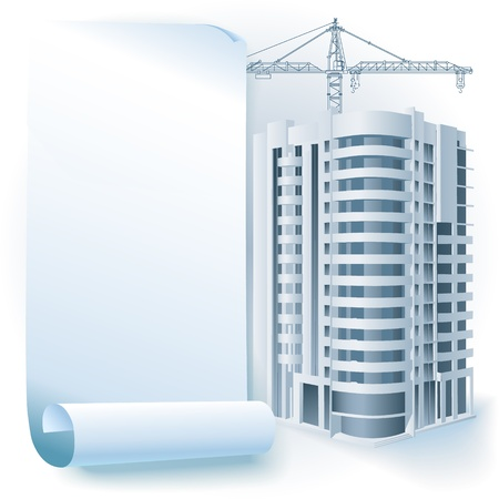 idea sketch: Architectural background with a 3D building model - Part of architectural project, architectural plan, technical project, drawing technical letters, architecture planning on paper, construction plan
