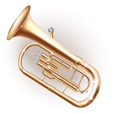 brass wind: Musical series - Classical Baritone horn -  Euphonium tuba - isolated on white background