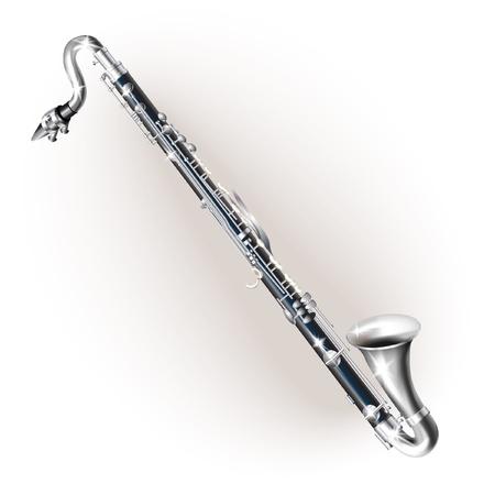 clarinete: Serie Musical - clarinete bajo Cl�sica, aislado en fondo blanco