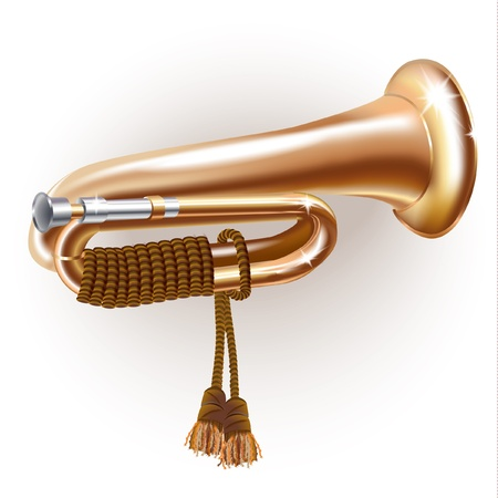 Musical series - Classical bugle, isolated on white background