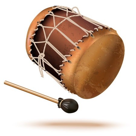 Musical background series - Traditional bungas  drums , isolated on white background Иллюстрация