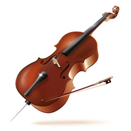 Musical background series - Classical cello, isolated in white background Vector