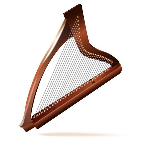 서사시: 음악적 배경 시리즈 - 격리 된 흰색 배경에 전통적인 아일랜드 켈트 하프,