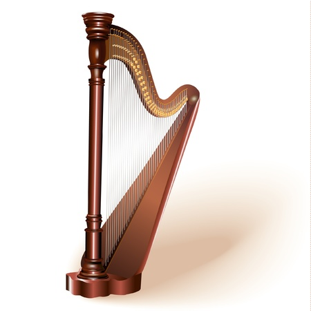 Musical series - The concert harp, isolated on white background Illustration