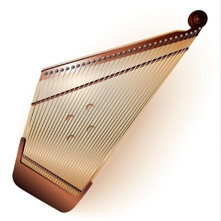 unplugged: Serie Musical - Tradicional kokle let�n, aislado en fondo blanco Ilustraci�n completamente editable