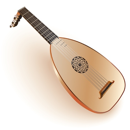 lute: Musical series - Late Baroque era lute, isolated on white background  Fully editable Illustration