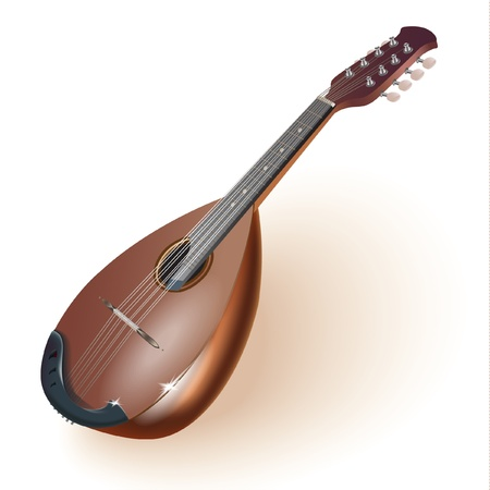 lute: Musical series - Traditional Neapolitan mandoline, isolated on white background  Fully editable Illustration