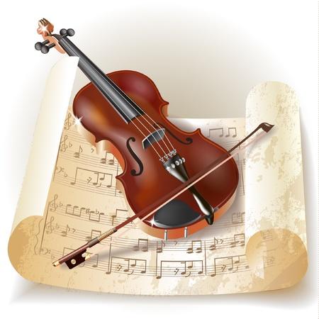 violines: Serie Musical - Violín clásico con notas de estilo retro