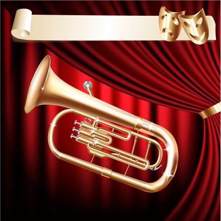 tuba: Musical background series - Classical baritone horn - Euphonium tuba - on a red velvet curtain background