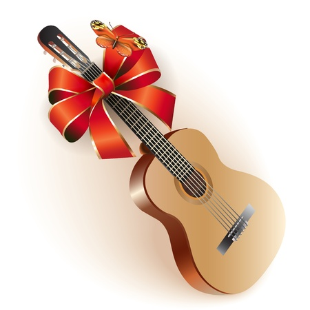 instrument practice: Musical background series - Classical Spanish guitar with a ribbon, isolated on white background