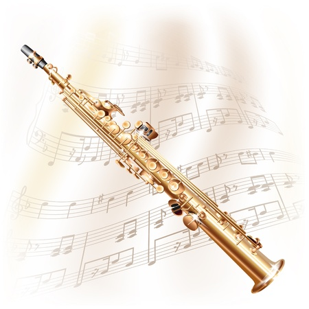 soprano saxophone: Musical serie de fondo - saxo soprano cl�sica, aislada en el fondo blanco con las notas musicales