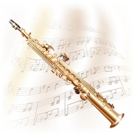 Muzikale achtergrond serie - Klassieke sopraan sax, geïsoleerd op een witte achtergrond met muzieknoten