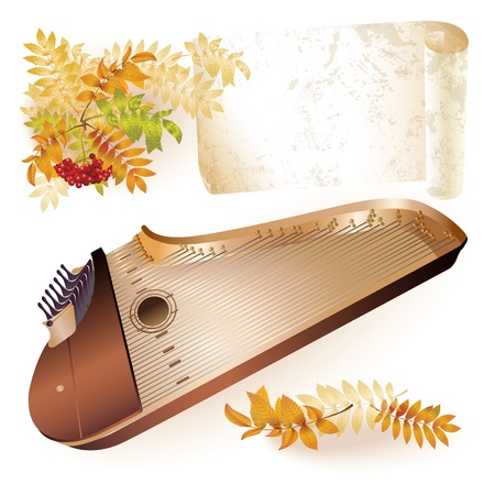Musical series - Traditional Finnish kantele, isolated on white autumn background with yellow leaves and a bunch of rowan