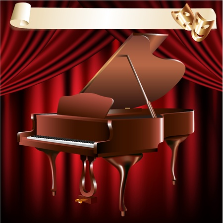 Musical series - Classical grand piano on a red velvet curtain background Vector