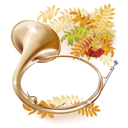 Musical series - Traditional hunting horn, isolated on white autumn background with yellow leaves and a bunch of rowan