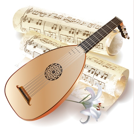 lute: Musical series - Late Baroque era lute with musical notes in retro style